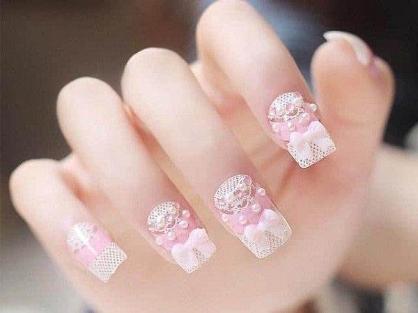 Mẫu nail đẹp đơn giản cho cô dâu lung linh ngày cưới-15